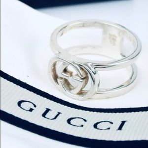 GUCCI Sterling Silver GG Ring - Size 5